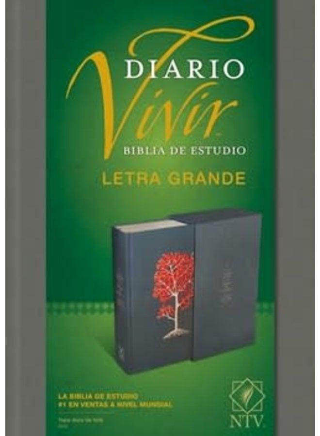 BIBLIA DE ESTUDIO DEL DIARIO VIVIR NTV, LETRA GRANDE, TAPA DURA ARBOL ROJO