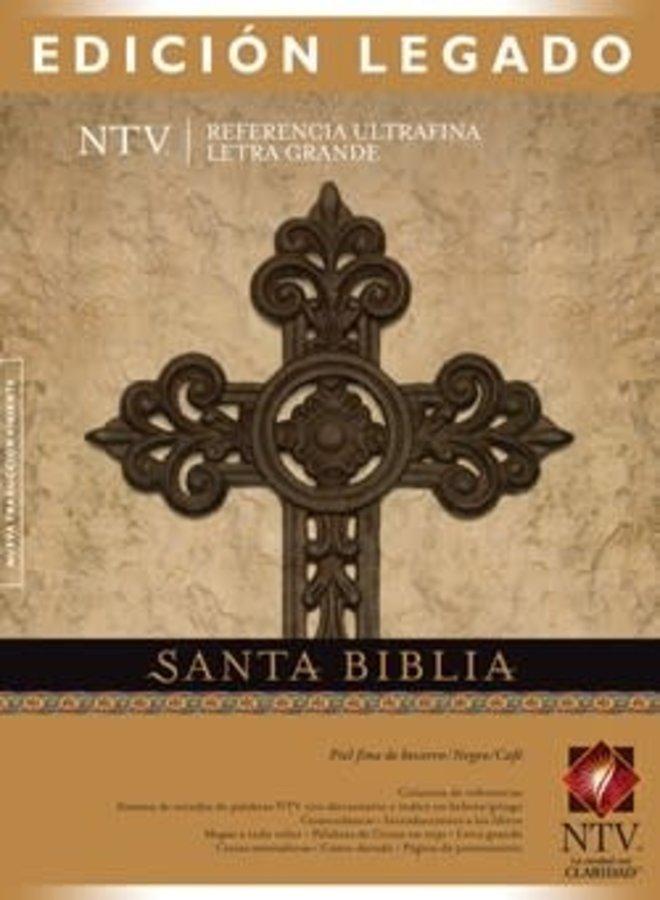 BIBLIA EDICION LEGADO NTV PIEL NEGRO CAFE