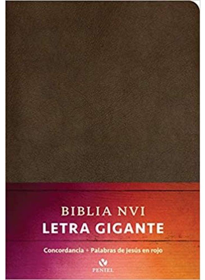 BIBLIA NVI LETRA GIGANTE MARRON, PIEL FABRICADA
