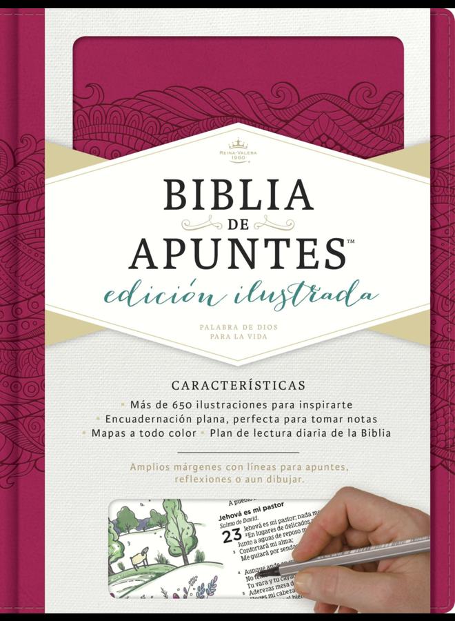 BIBLIA DE APUNTES ILUSTRADA RVR60 T BLANCO E IP ROSA