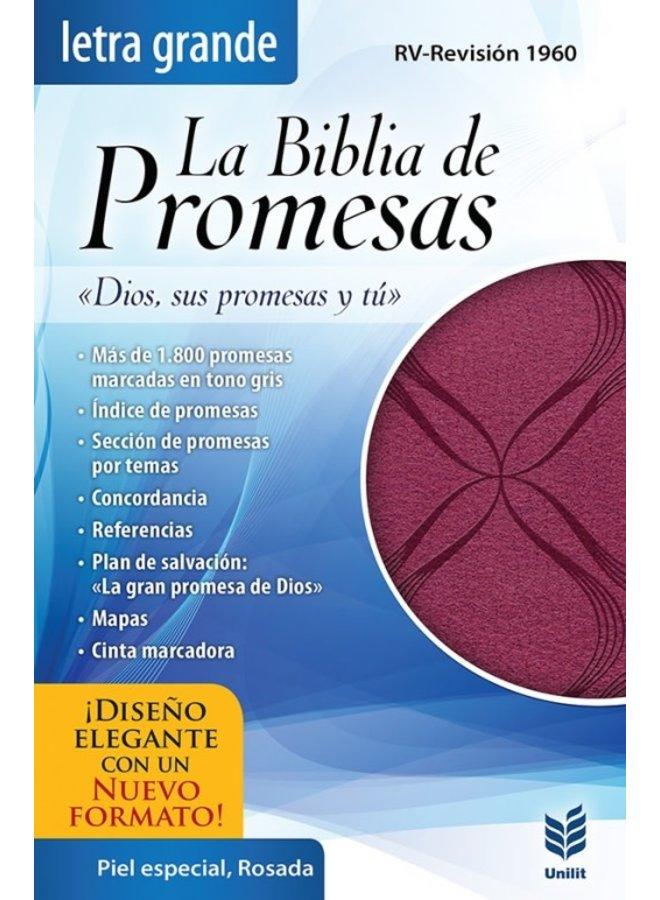 BIBLIA DE PROMESAS  LETRA GRANDE  PIEL ESPECIAL ROSADA