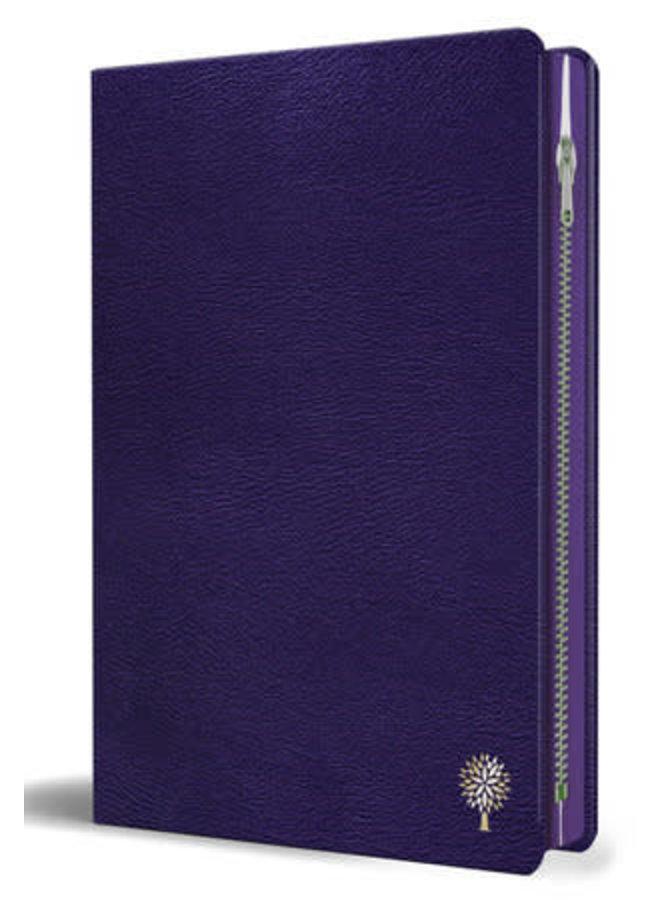 Biblia Reina Valera 1960 letra grande. Símil piel morado con cremallera