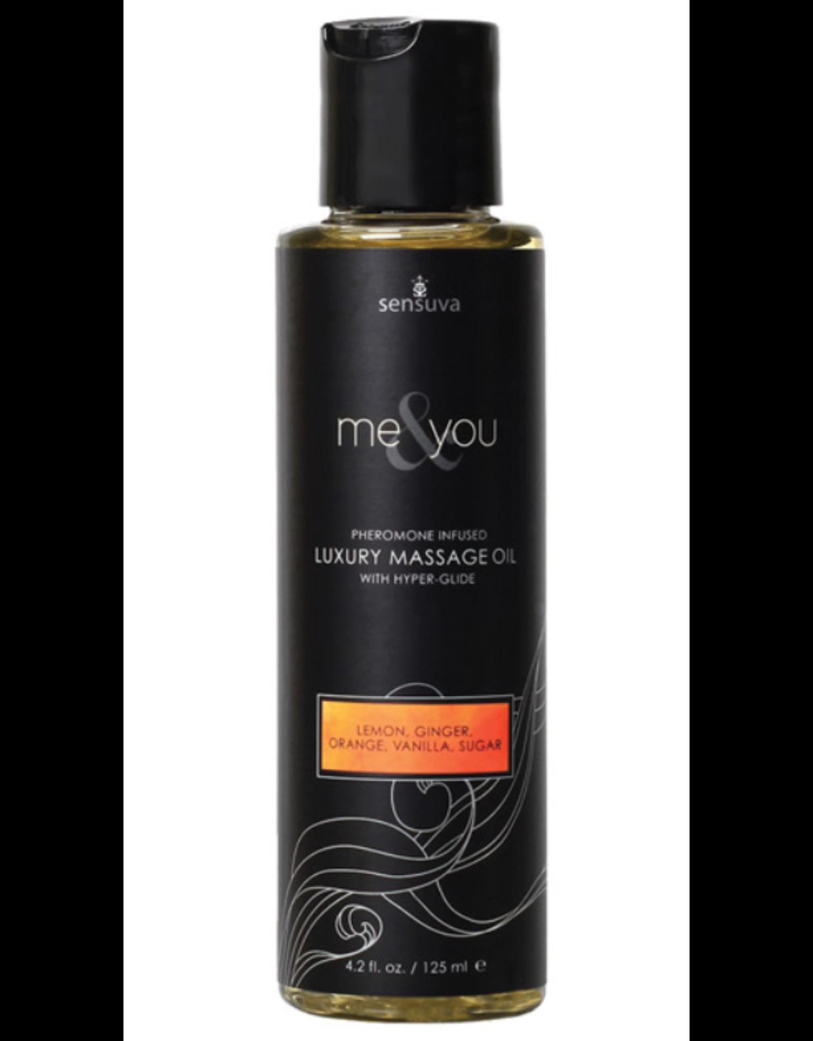 Sensuva Me & You Massage Oil - 4.2 oz Lemon, Ginger, Orange, Vanilla, Sugar