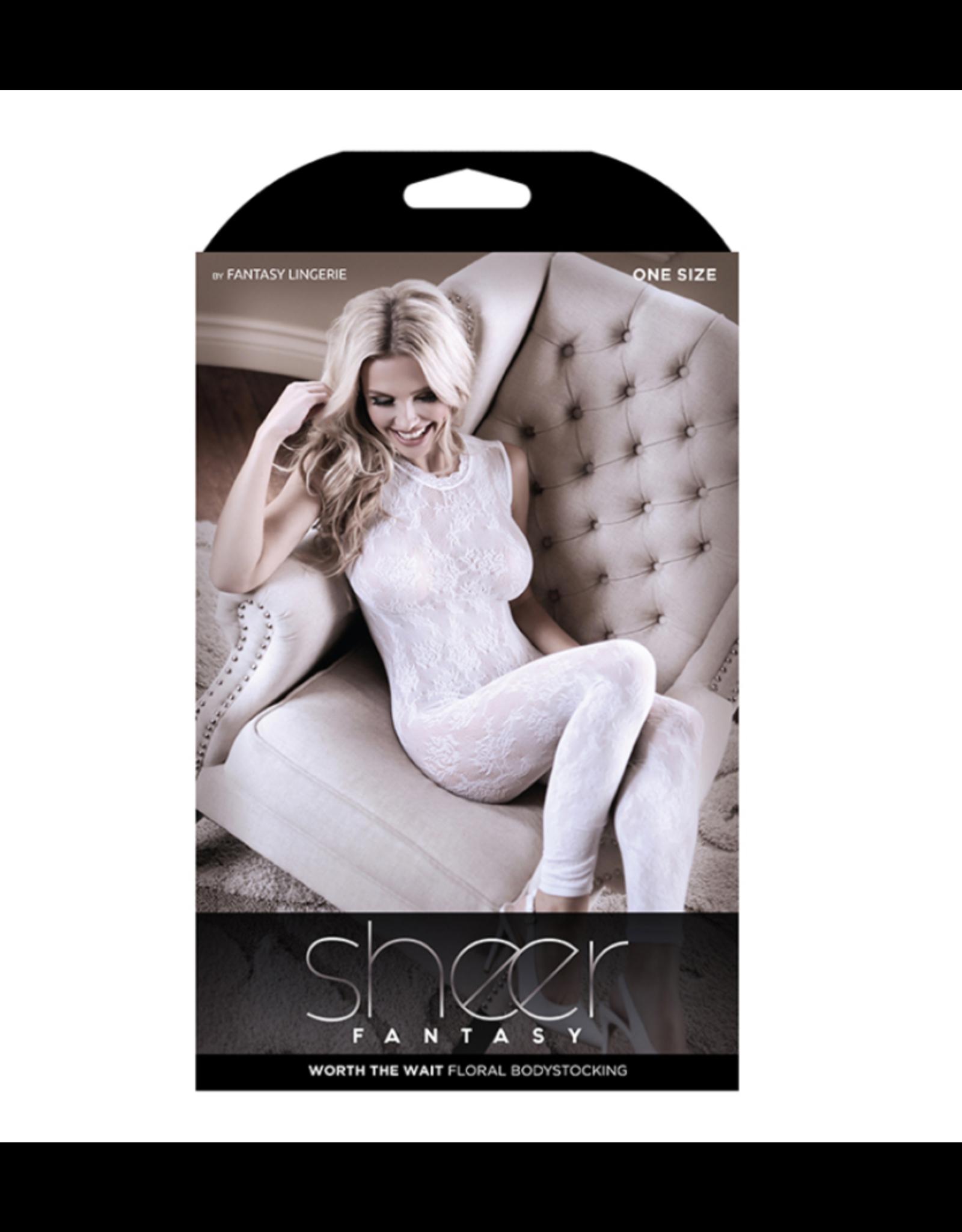 Sheer Worth The Wait Body Stocking White OS