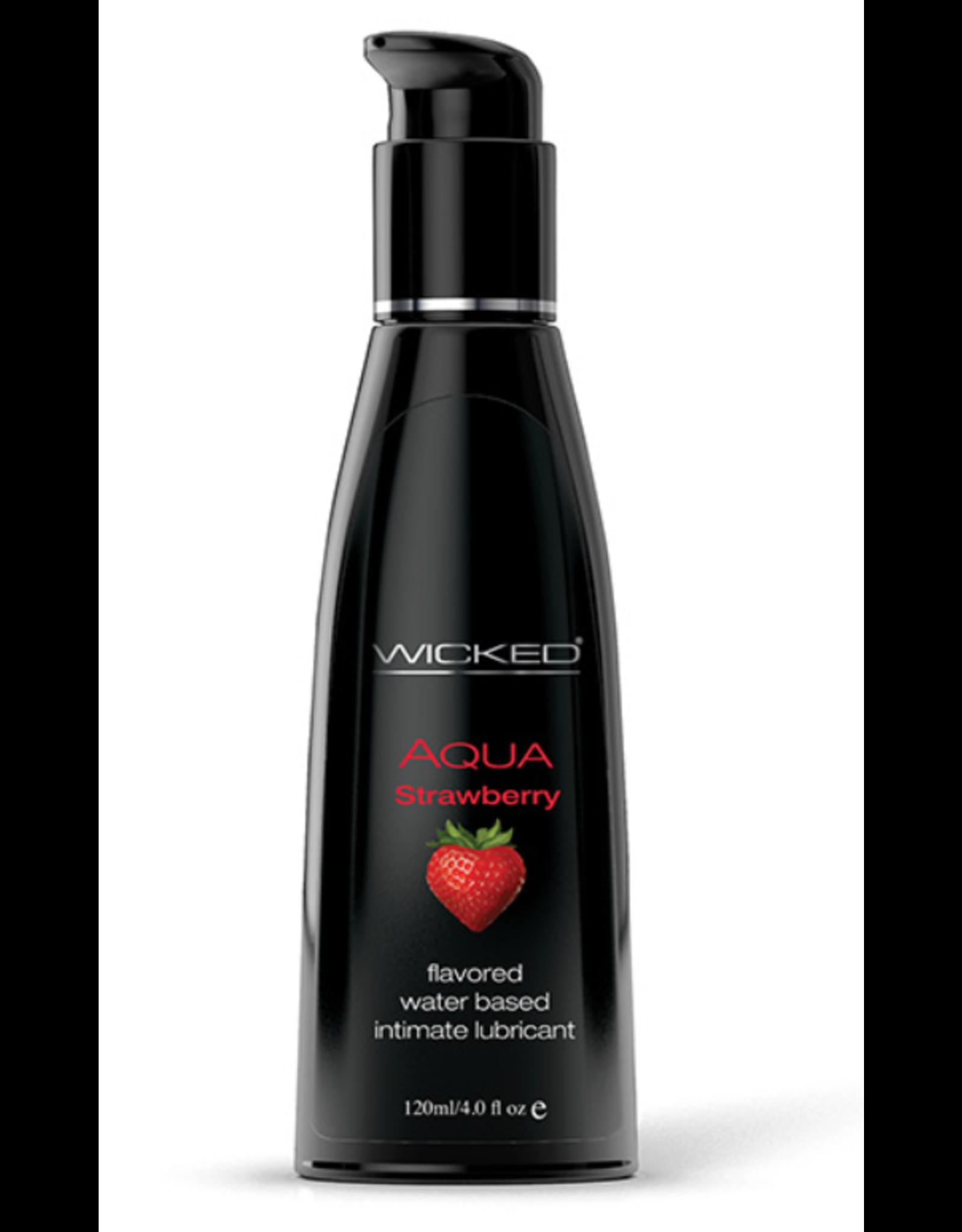 Wicked Sensual Care Aqua Water Based Lubricant - 4 oz Strawberry