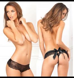 Crotchless Bow Back Panty Black M/L