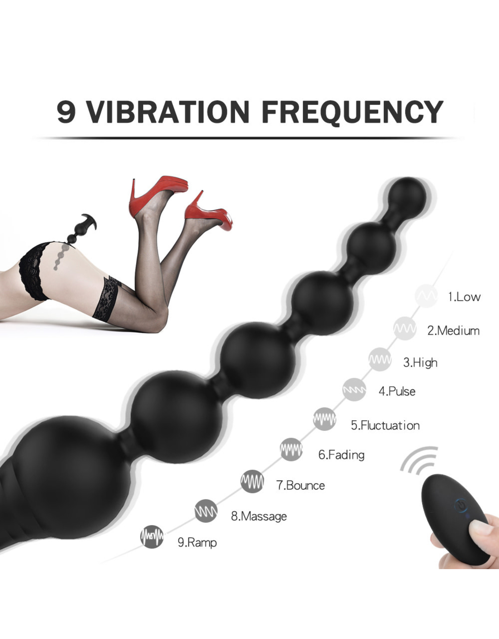 Babylon Babylon Anal Beaded (6) Remote Control Vibrating Novelty Black