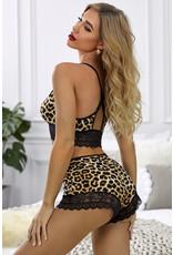 Babylon Cheetah Crochet Lace Backless Cami Sm