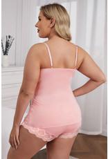 Babylon Pink Lace Cami Top and Shorts  Set 1X