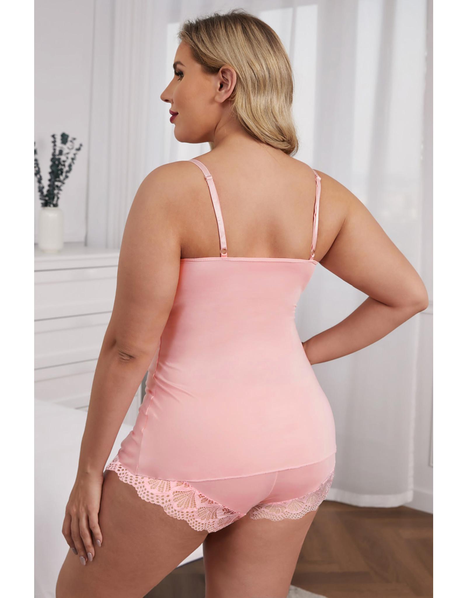 Babylon Pink Lace Cami Top and Shorts  Set 3X