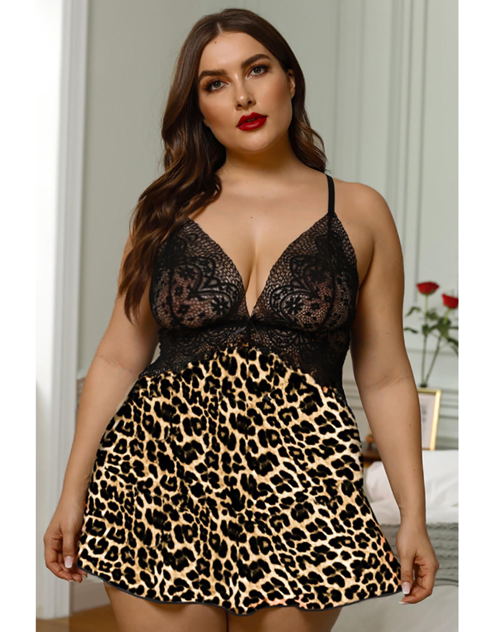 Babylon Cheetah Crochet Lace Backless Cami 1X