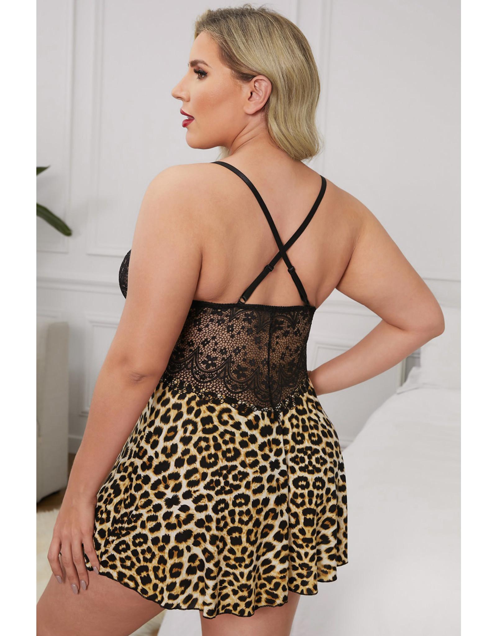 Babylon Cheetah Crochet Lace Backless Cami L