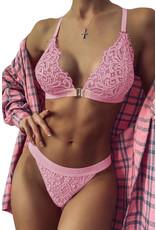Babylon Pink Two-piece Adjustable Straps Lace Set Lg