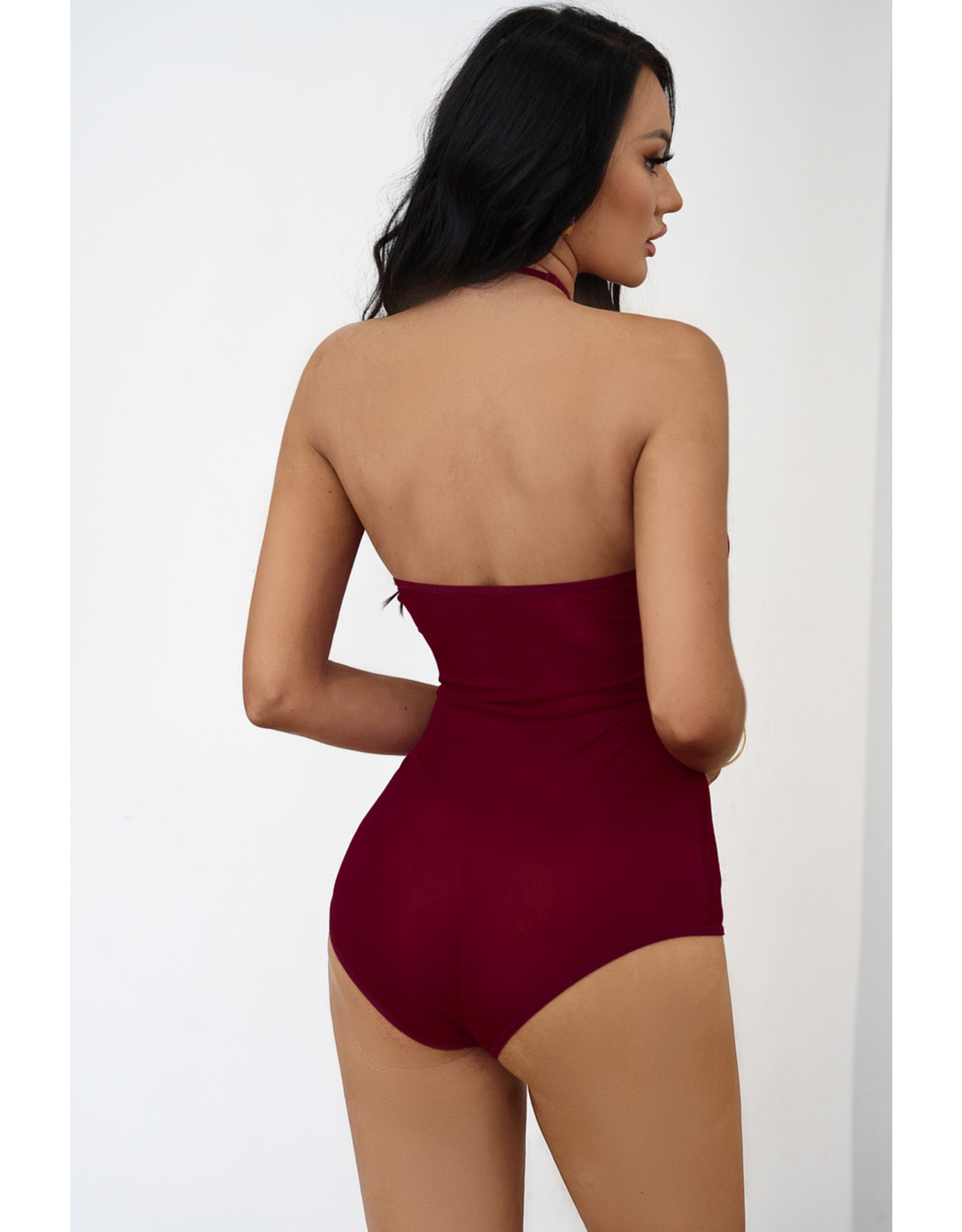 Wine Red Strappy Lace Goth Med