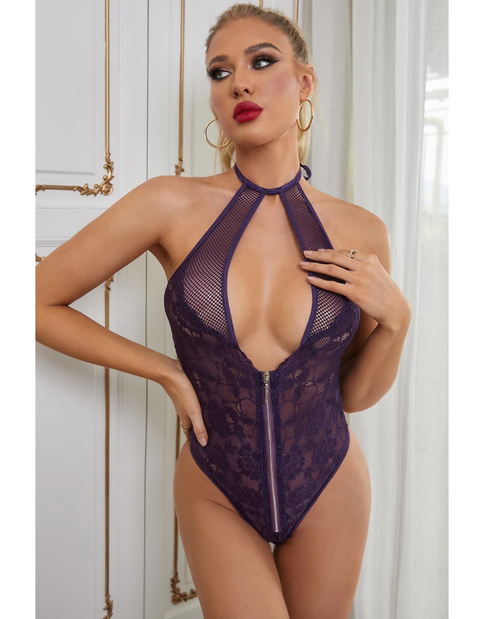 Babylon Purple Fishnet Lace Backless Lg