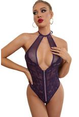 Babylon Purple Fishnet Lace Backless Med