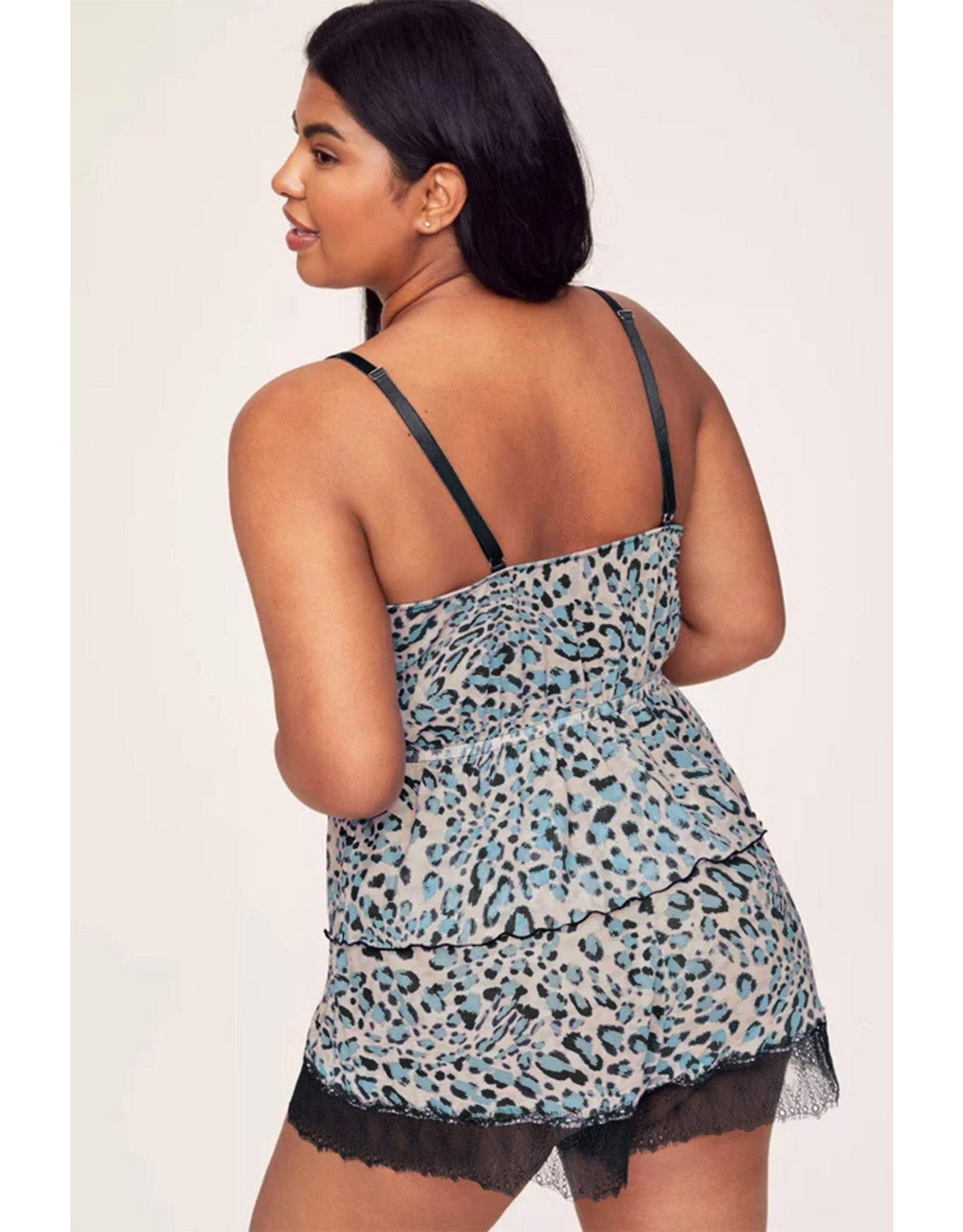 Babylon Leopard Eyelash Lace Cami Top and Shorts Set 3ْX