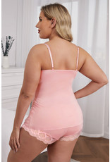 Babylon Pink Lace Cami Top and Shorts  Set 2X