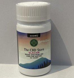 The CBD Store Glacier 300mg Broad Spectrum Softgel (10mg per, 30 count jar)