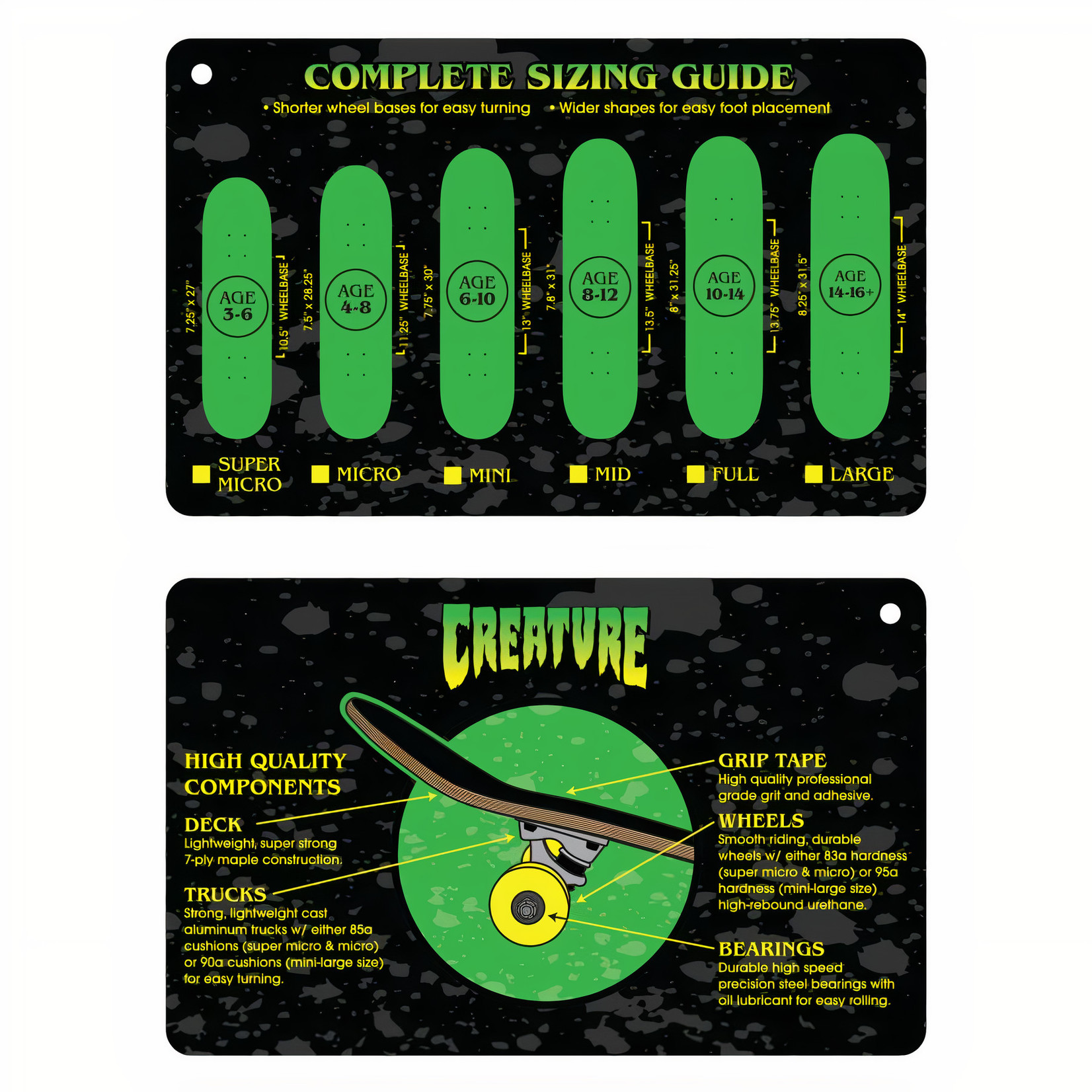 """Creature Creature - Complete Ripped Logo Micro Green / Yellow - 7.5 x 28.25"""""""