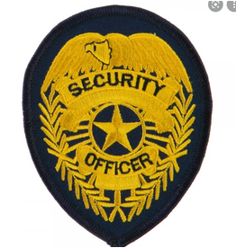 SECURITY GUARD Badge Patch, Medium Gold on Black,2-3/4x3-3/4