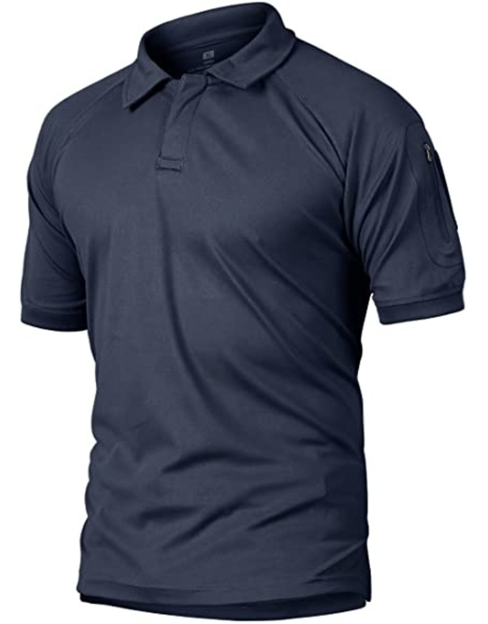 Crysully Crysully Mens Bottons Shirt Urban Sportswear Uniform Short Sleeve Leisure Polo Shirt (Blue - Large)