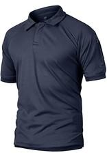 Crysully Crysully Mens Bottons Shirt Urban Sportswear Uniform Short Sleeve Leisure Polo Shirt (Blue - X Large)