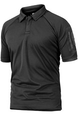 Crysully Crysully Mens Tactical Sport Sleeve Combat Regular Fit Cotton Polo Shirt (Black - 2X Large)