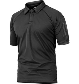 Crysully Crysully Basic Style Short Sleeve Turn down Collar Golf Polo Shirt  (Black - X Large)