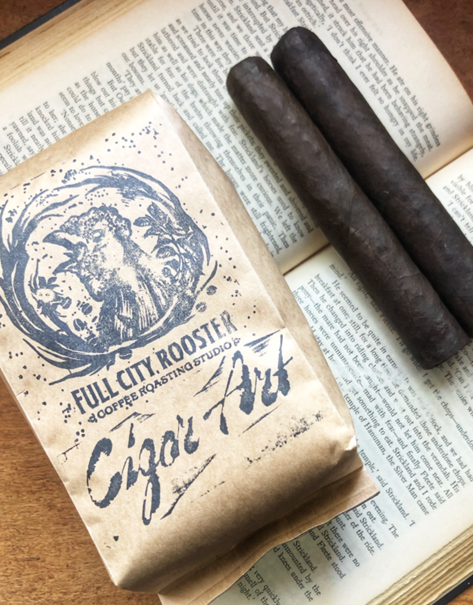 Cigar Art Full City Rooster Coffee: Cigar Art Exclusive 12oz Whole Bean + Two Cliff Jumper Robusto 5 x 50 Singles
