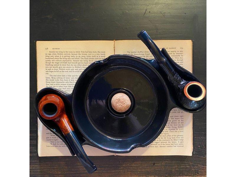 Black Ceramic 2-pipe Ashtray