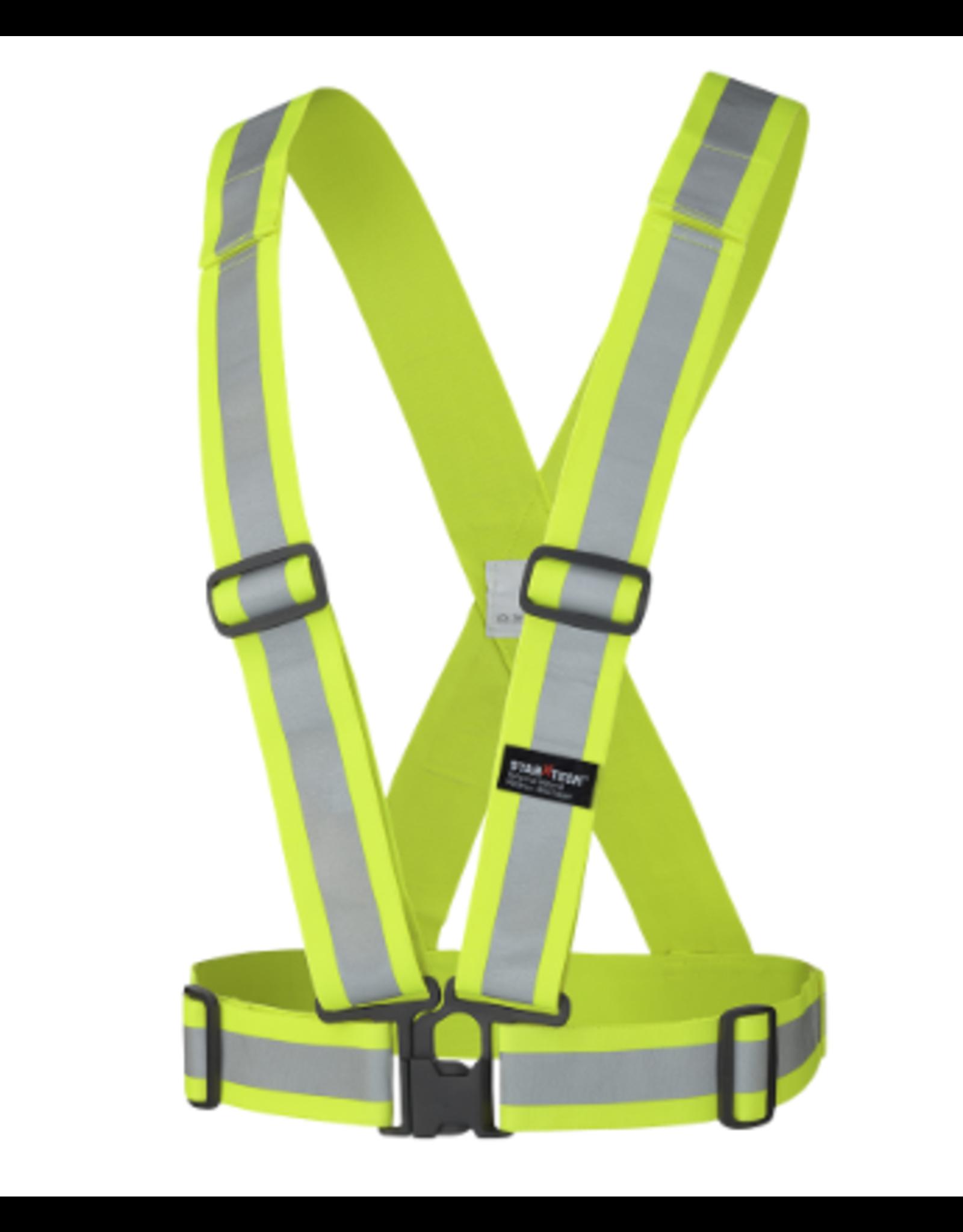 "Hi-Viz Safety Sash 4Pt Tearaway 2"" Elastic w/ Adjustable Chest/Waist Straps"