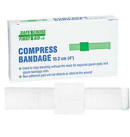 "Compress Bandages 10.2 x 10.2 cm (4"" x 4),  1's"