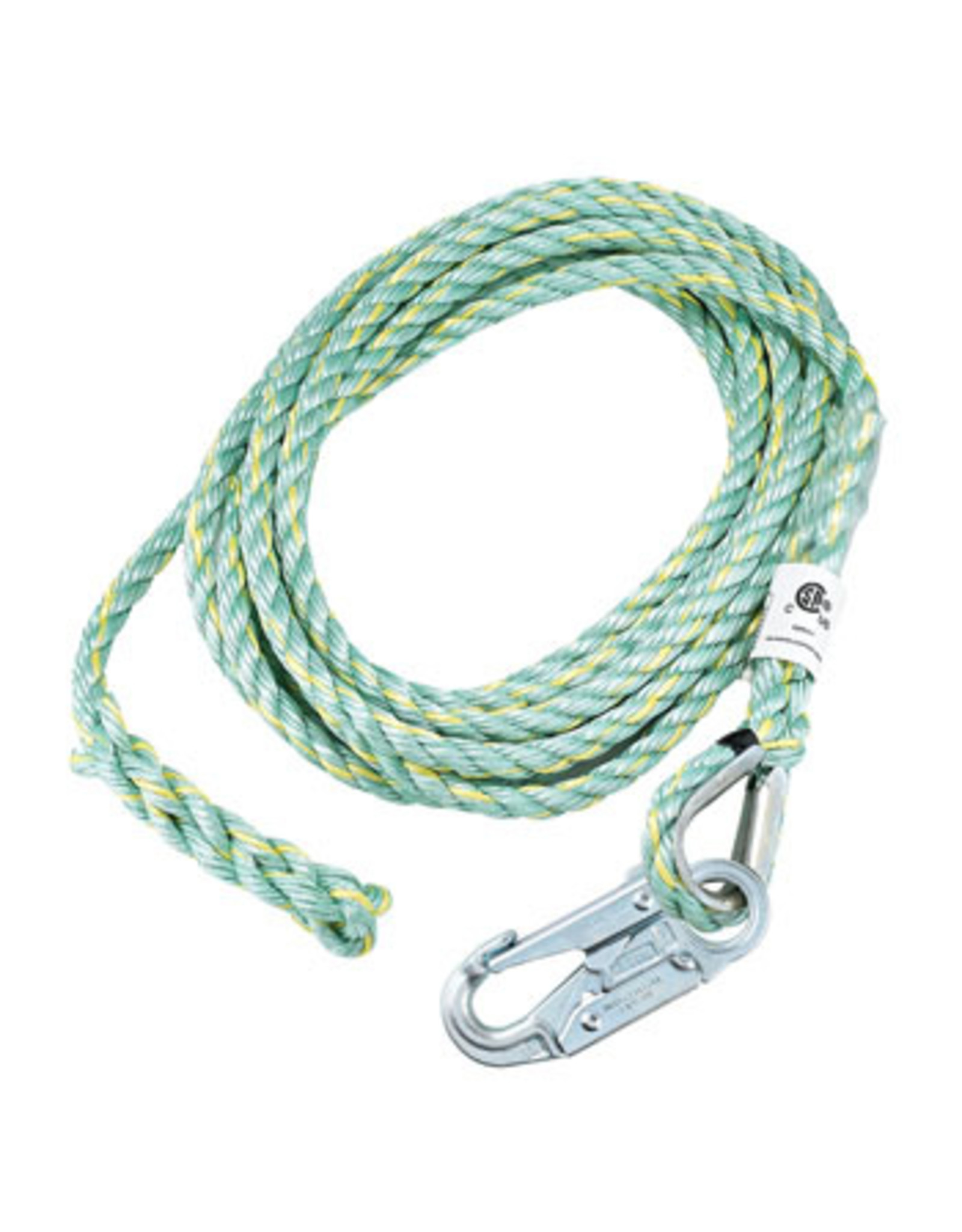 Co-Polymer Blend Rope 5/8 in (16 MM) 3-strand rope for vertical lifeline, comes with 1 termination and 1 snap hook with 3/4 in opening model FP6650HS. Length 50ft