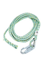 Co-Polymer Blend Rope 5/8 in (16mm) 3 strand rope for vertical lifeline, comes with 1 termination and 1 snap hook with 3/4 in opening Model FP6650HS. Length 25ft