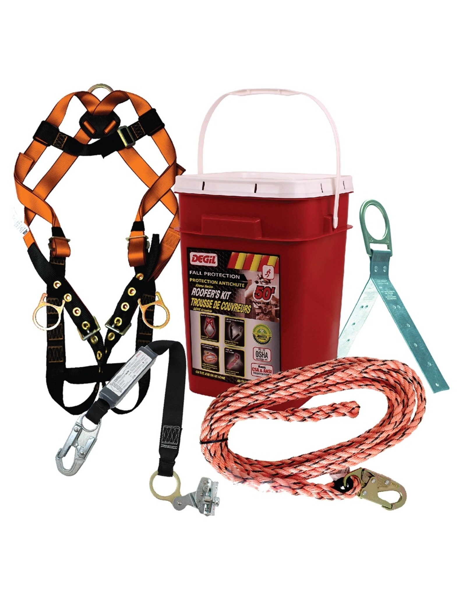 """Roofer Kit complete with: 50ft lifeline with 3/4"""" snaphook, sliding rope grab with integrated energy absorber, adjustable harness w/ back D-ring and T & B legstraps, reusable hinged roof anchor, storage bucket"""