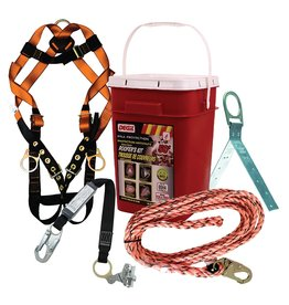 "Roofer Kit complete with: 50ft lifeline with 3/4"" snaphook, sliding rope grab with integrated energy absorber, adjustable harness w/ back D-ring and T & B legstraps, reusable hinged roof anchor, storage bucket"