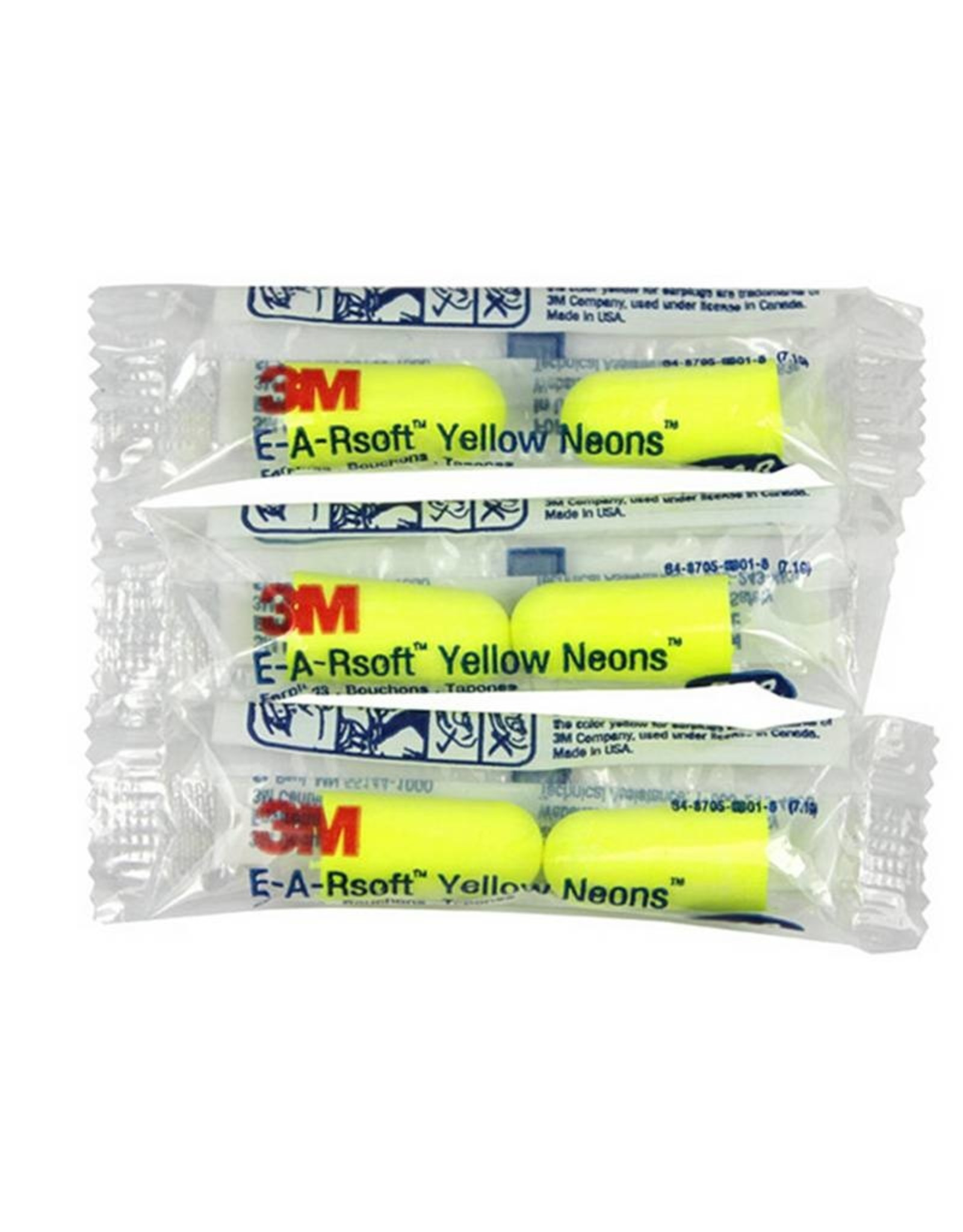 3M EARsoft Yellow Neons Uncorded Earplugs, in Poly Bag ..Regular Size