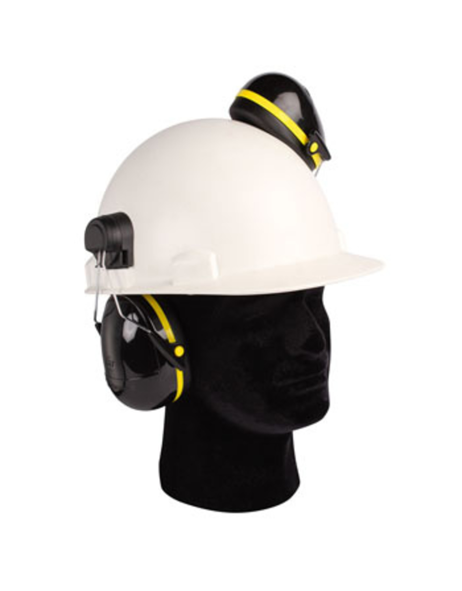 ''mirage'' wire cap mounted ear muffs. light weight, smaller size cups, low profile and highly comfortable. black and yellow