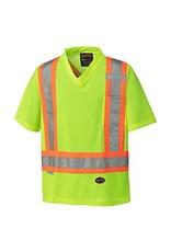 Hi Viz Yellow Micro Mesh V-Neck T-Shirt