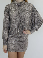 Bucketlist Alligator Skin Printed Turtle Neck Mid Dress