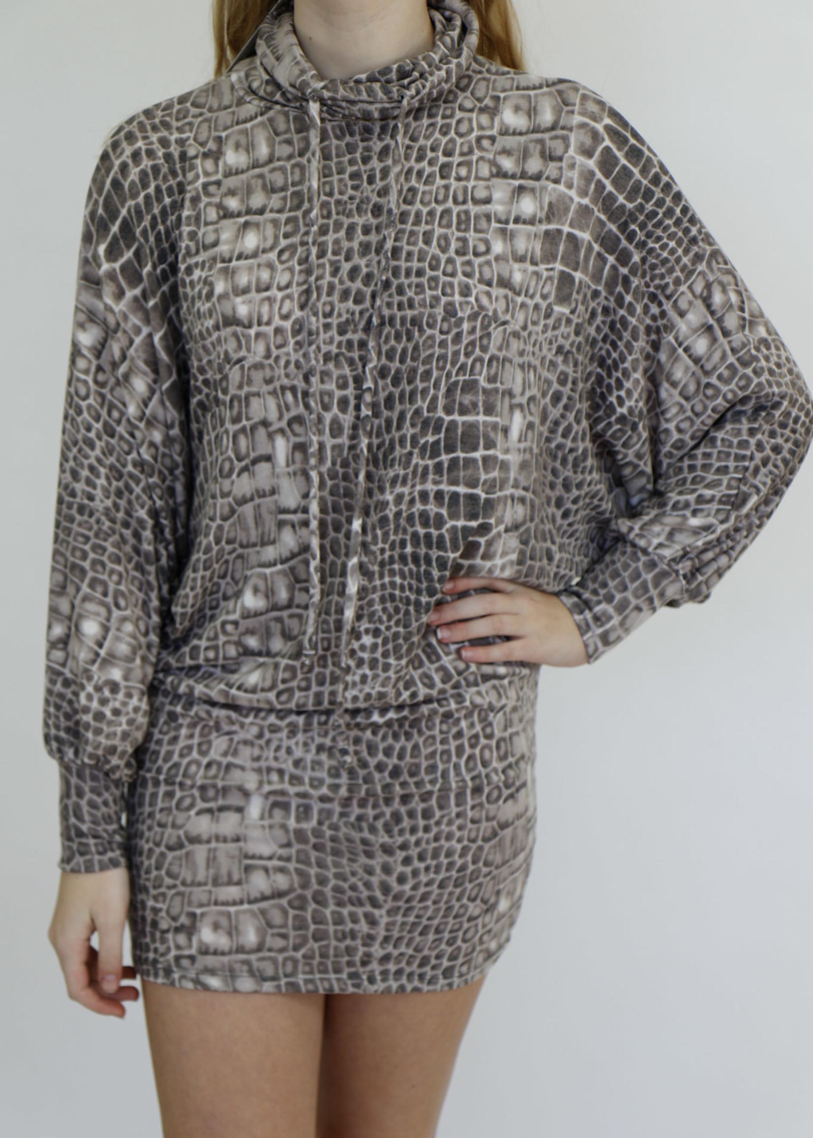 Bucketlist Alligator Skin Printed Turtle Neck Long Sleeves Mid Dress