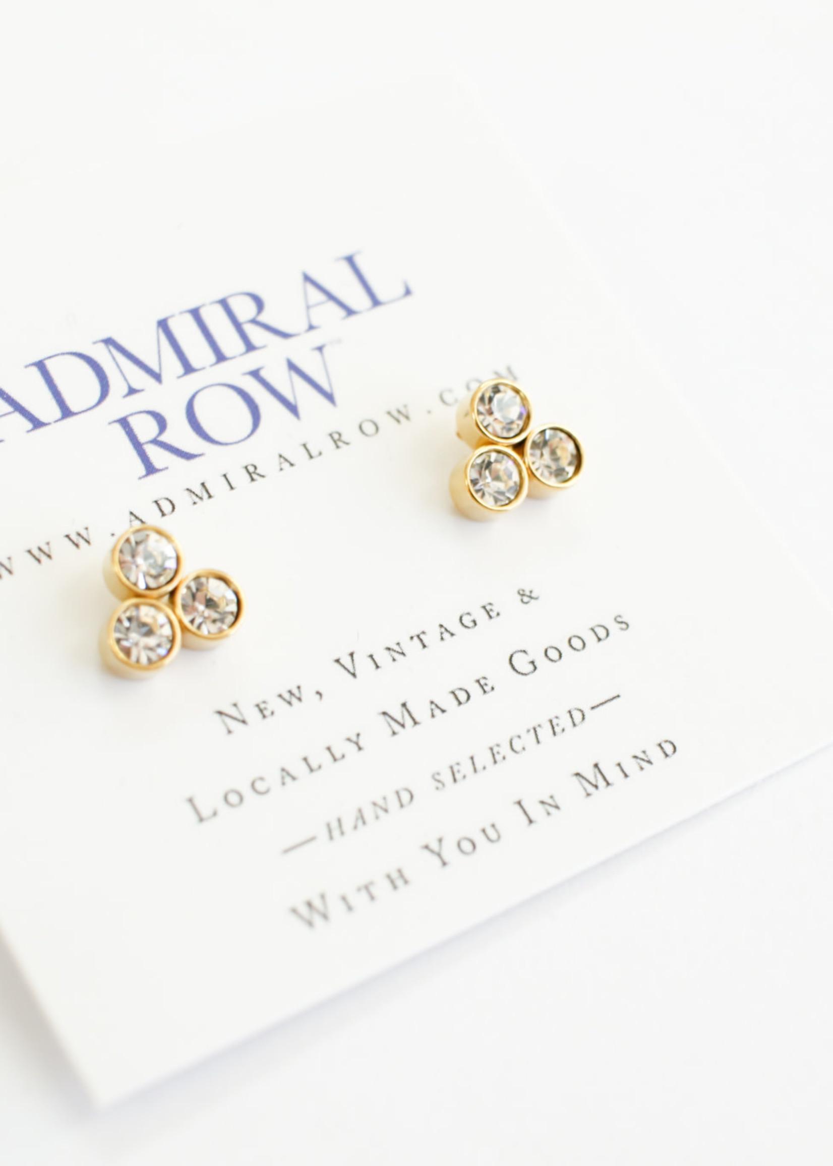 Admiral Row pave three stone stud earrings