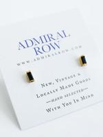 Admiral Row Mini black baguette gold studs