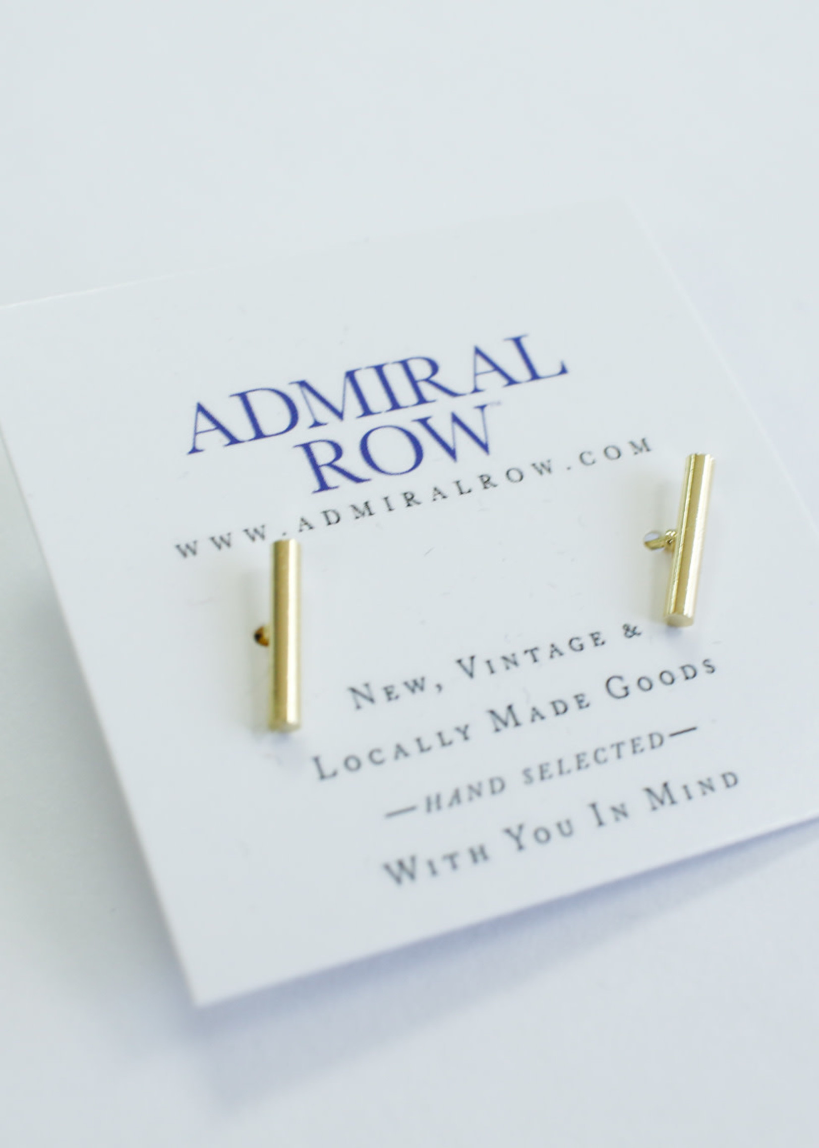 Admiral Row Gold Slim Bar Studs