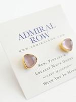 Admiral Row rose quartz gold triangle studs