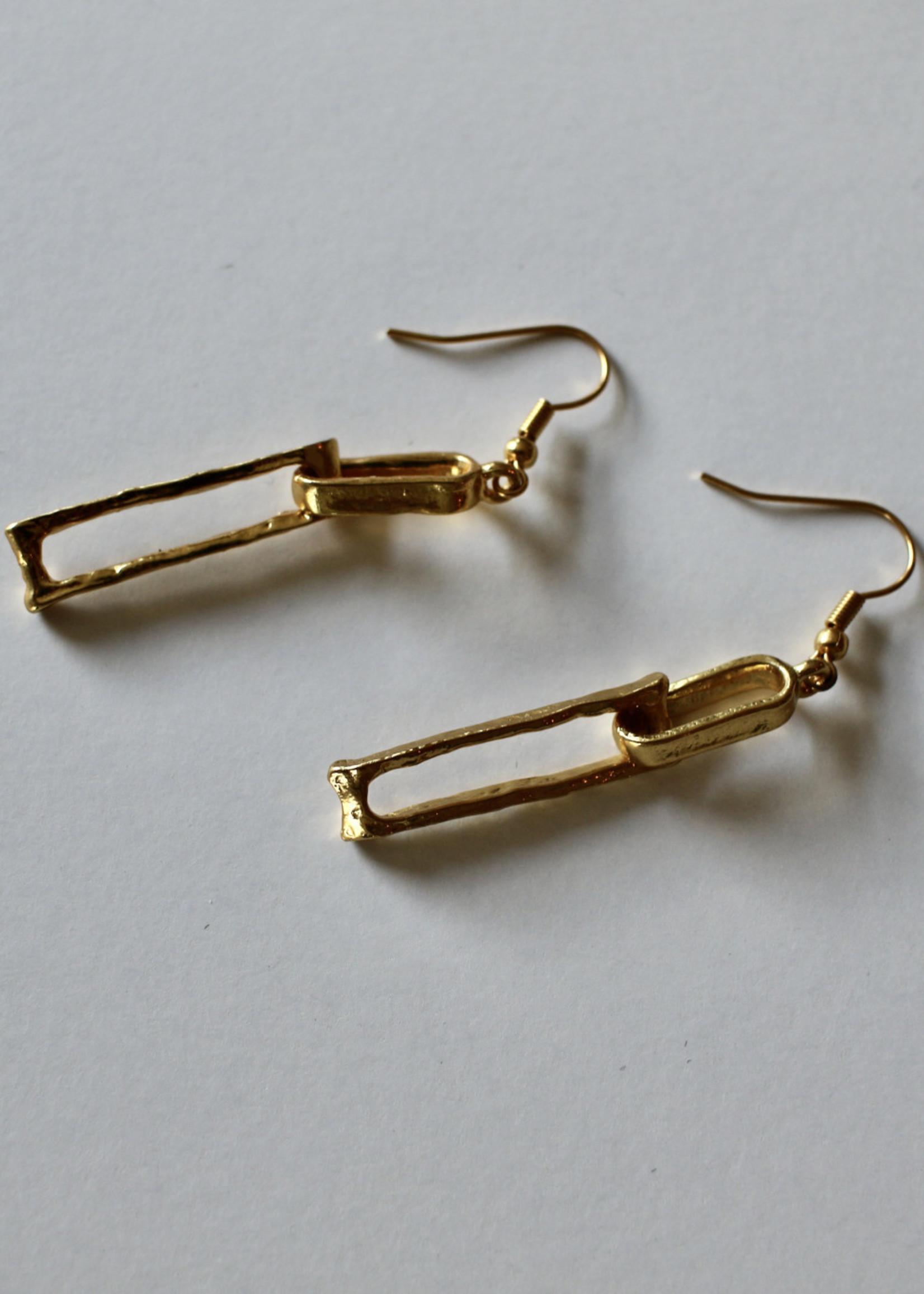 Rectangular Link Drop Earring