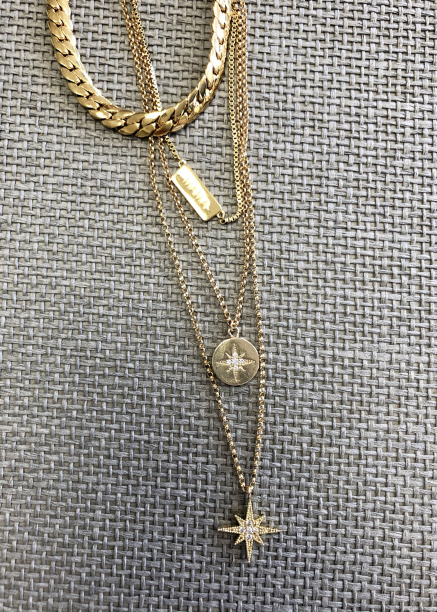 Admiral Row gold pave stone star necklace