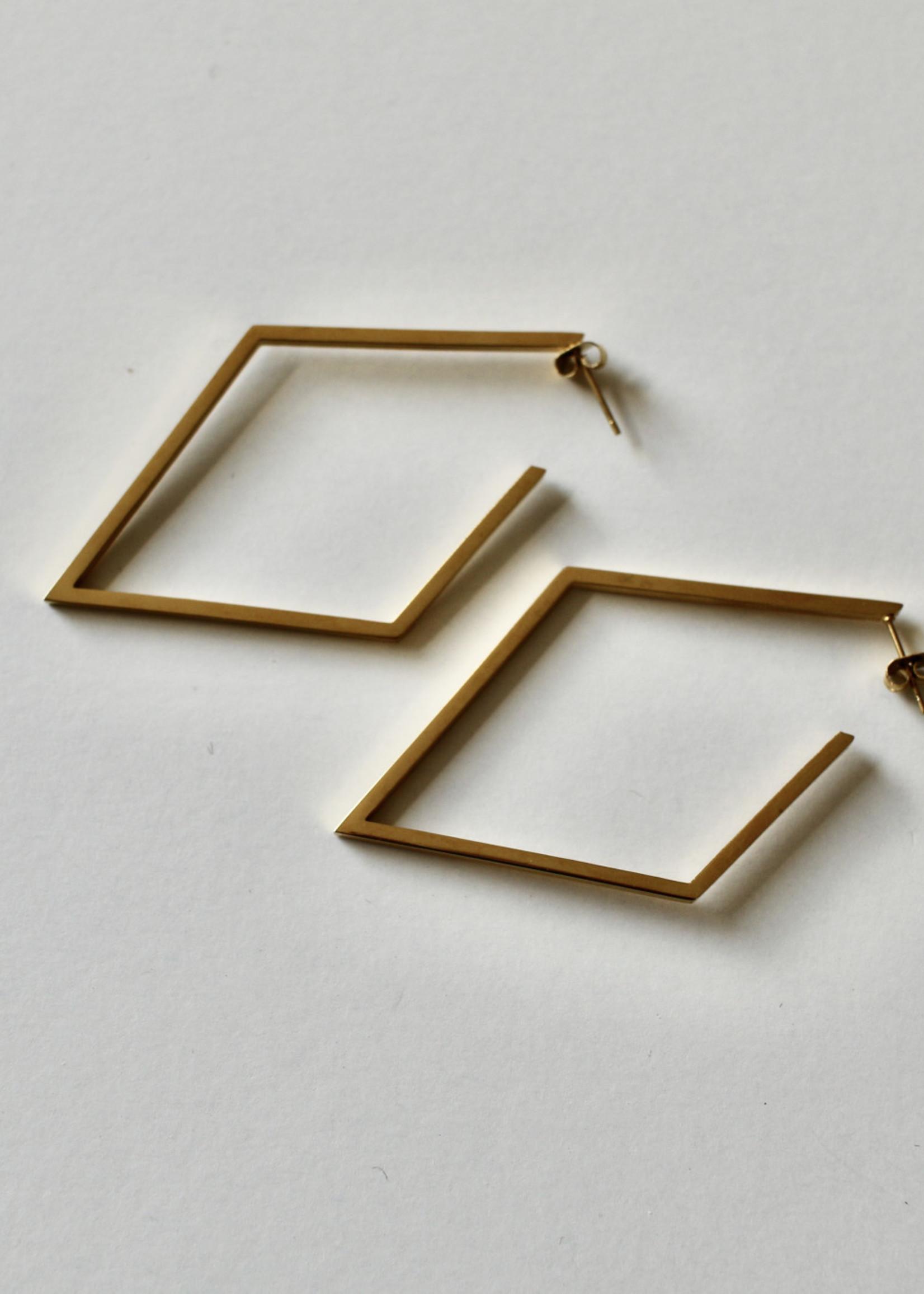Admiral Row gold diamond hoop earrings