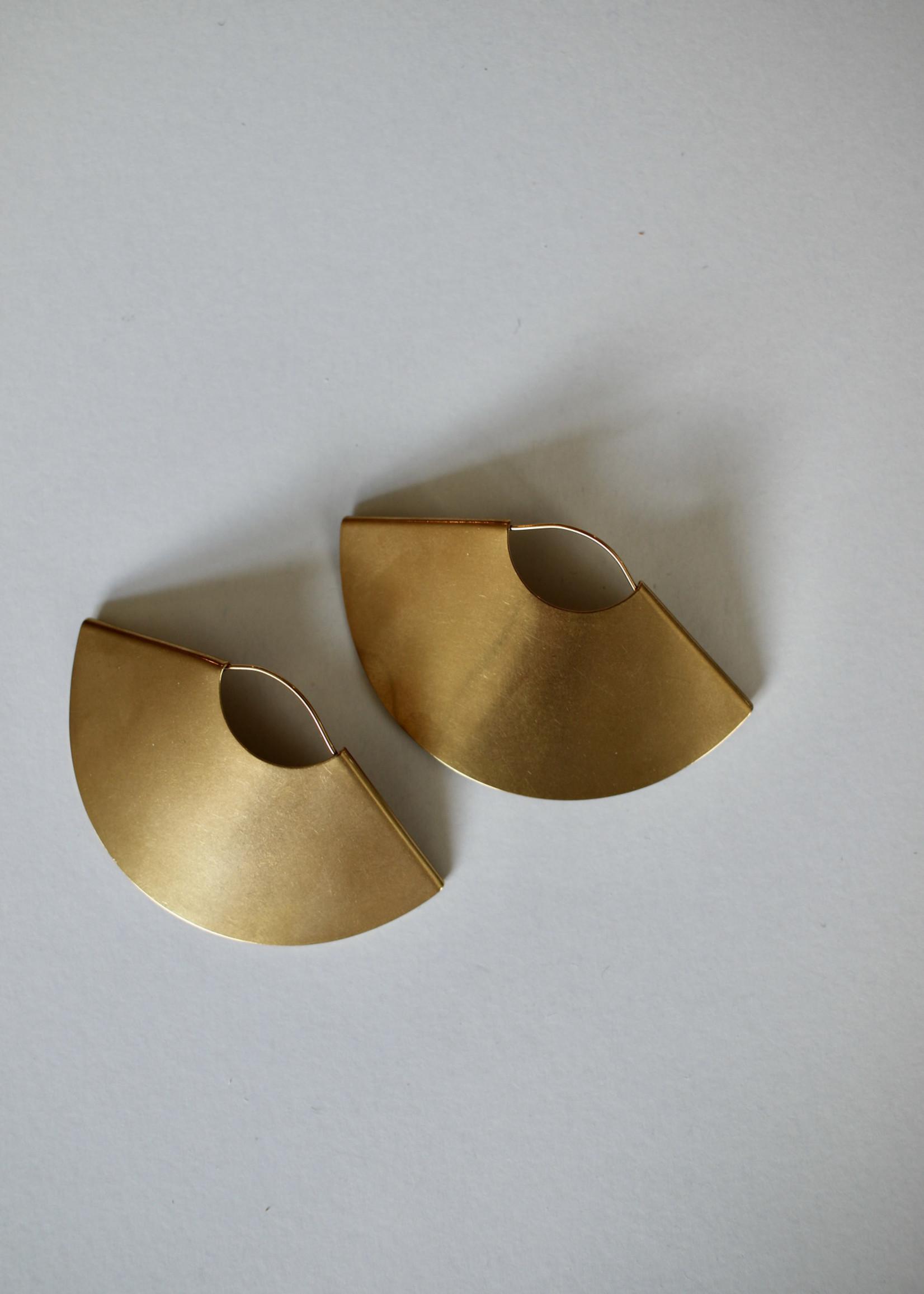 Admiral Row gold fan earrings
